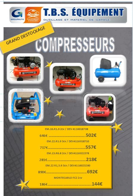 Destockage de printemps offres tbs mat riel et equipement for Garage vallauris auto